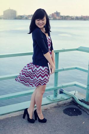 red chevron modcloth dress - navy Gap cardigan - black suede bakers shoes heels