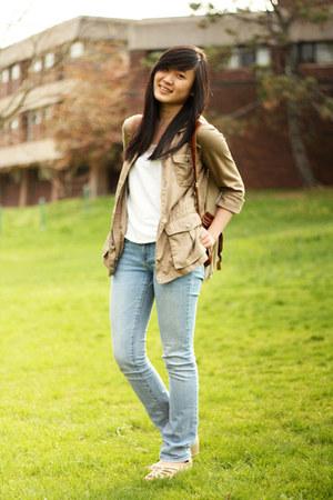 light blue Delias jeans - camel Gap jacket - tan Aldo bag - beige Aldo wedges -