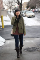 dark brown white mountain boots - olive green H&M coat - navy Forever 21 jeans -