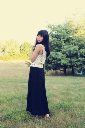 black maxi H&M dress - white polka-dot H&M top - bronze Gap sandals