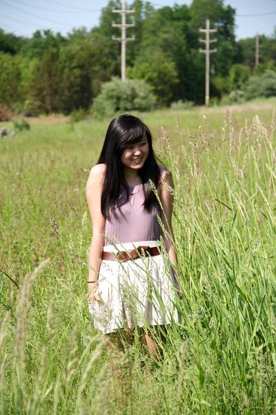 beige random NYC boutique skirt - purple Wet Seal dress - brown H&M belt