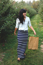 light blue chambray Gap shirt - navy striped maxi for elyse skirt