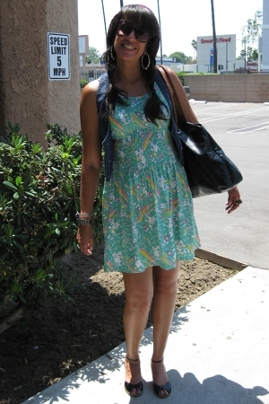 Thrifted from the Goodwill dress - forever 21 vest - Chinese Laundry shoes - Xhi