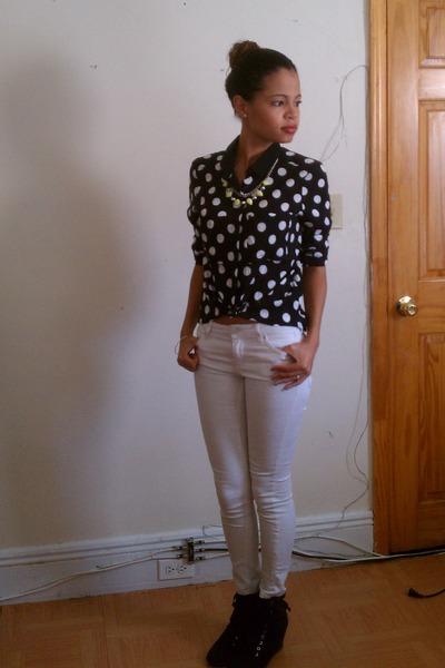 White H&m Jeans Polka Dot