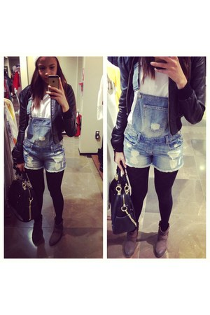 overalls H&M jeans - leather H&M jacket - H&M shirt - Uniqlo tights