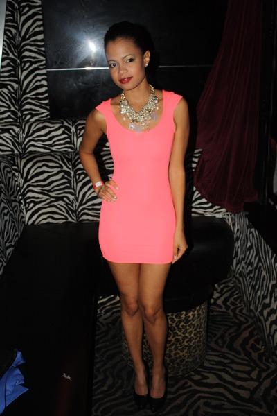Neon Pink H&m Dress Black