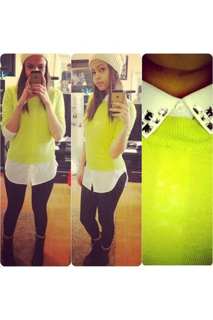 yellow neon Forever 21 sweater - black combat boots GoJane boots