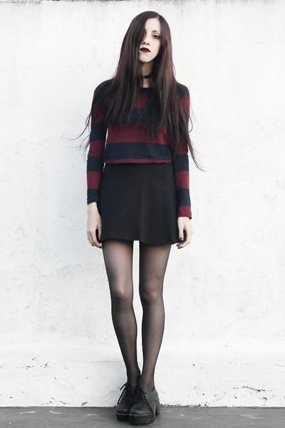 black striped Complot top - black skater made by me skirt