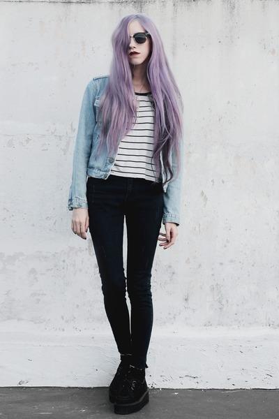 black denim She Inside jeans - light blue denim old jacket