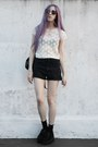 Cream-lace-thrifted-shirt-black-ripped-complot-shorts