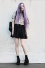Periwinkle-floral-she-inside-shirt-black-pleated-made-by-me-skirt