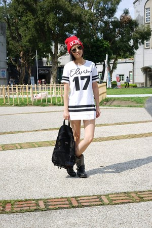 black Jeffrey Campbell boots - ivory CNdirect dress - red Taipei hat