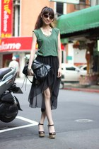 black skirt - dark green shirt