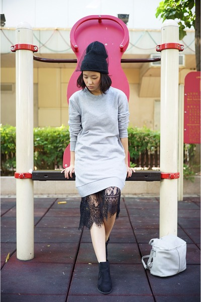 heather gray H&M dress - black Topshop hat