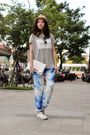 White-h-m-bag-heather-gray-zara-top-blue-sandro-pants