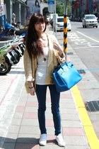 blue Hermes bag - white shoes - gold H&M cardigan