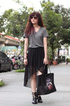black Givenchy bag - charcoal gray H&M top