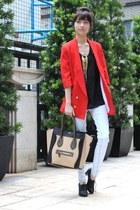 red blazer - white pants - black top