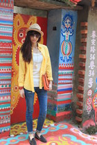 yellow shirt - black the quiet riot shoes - blue jeans - orange H&M bag