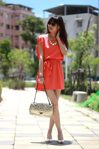salmon dress - white heels