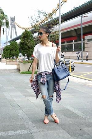 white CNdirect shirt - blue Prada bag - nude Crocs flats