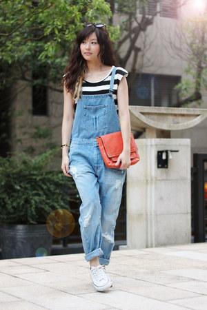 carrot orange H&M bag - blue Zara pants