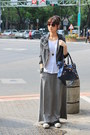 Gray-jacket-navy-bag-heather-gray-maxi-skirt-skirt