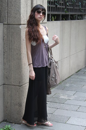 black skirt - dark khaki bag - light purple top