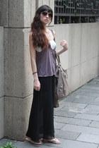 black skirt - dark khaki bag - light purple top