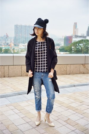 black H&M hat - sky blue Zara jeans - black Mixxo top