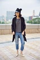 black H&M hat - sky blue Zara jeans - black Mixxo top
