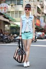 Aquamarine-shorts-orange-sunglasses-white-top-sky-blue-vest