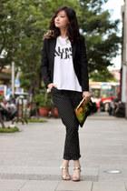 silver Kate-Katy heels - chartreuse Prada bag - black Kate-Katy pants