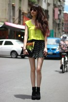 top - black shorts - chartreuse vest