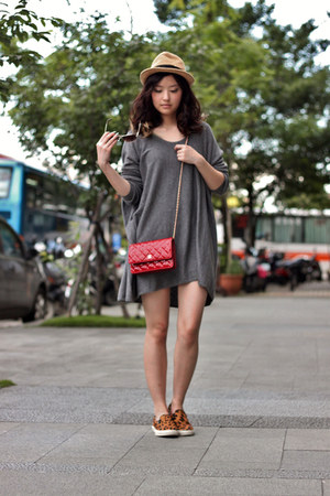 red Chanel bag - bronze Steve Madden shoes - charcoal gray H&M dress