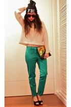 turquoise blue Zara pants