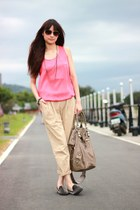 black loafers - camel pants - salmon Lowrys Farm top
