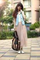 beige dress - sky blue vest
