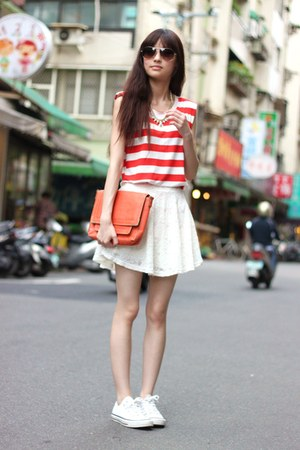 white skirt - carrot orange bag - red top