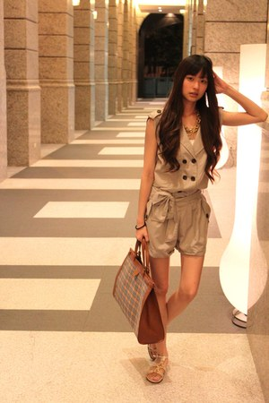 tawny bag - white sandals - gold sandals - dark khaki romper