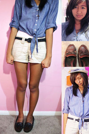 blue Forever 21 skirt - beige shorts - brown shoes - brown belt