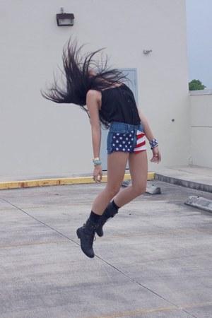 navy american flag DIY shorts - black combat American Rag boots