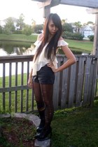 black ripped DIY tights - black faux leather Forever 21 shorts