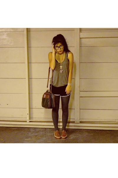 brown Capezio purse - brown Vans shoes - black glasses