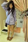 Blue-marie-france-blouse-purple-american-apparel-shorts