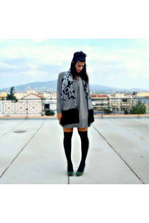 gray H&M blouse - gray Stradivarius scarf - black stockings - green Bershka shoe