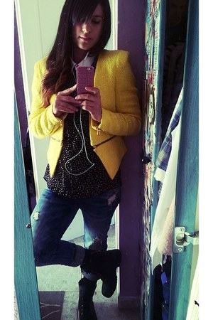 yellow Zara blazer - blue Zara jeans - black Bershka shirt