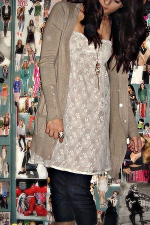 cardigan - dress - jeans - boots