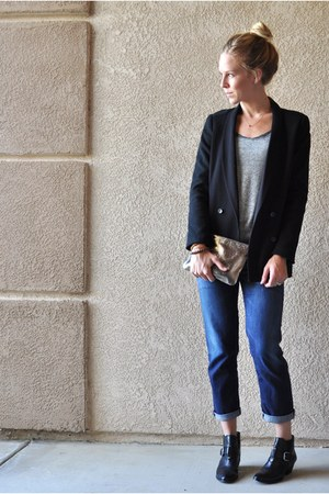 Elizabeth and James blazer - franco sarto boots - citizens of humanity jeans
