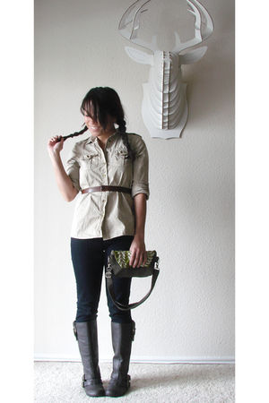 beige Gap shirt - blue Gap jeans - green Jenny N Design purse - brown Rocket Dog